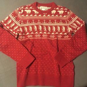 red christmas sweater polar bears penguin pattern